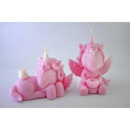 Silicone mold - Sitting Unicorn Girl 3D - for making soaps, candles and figurines