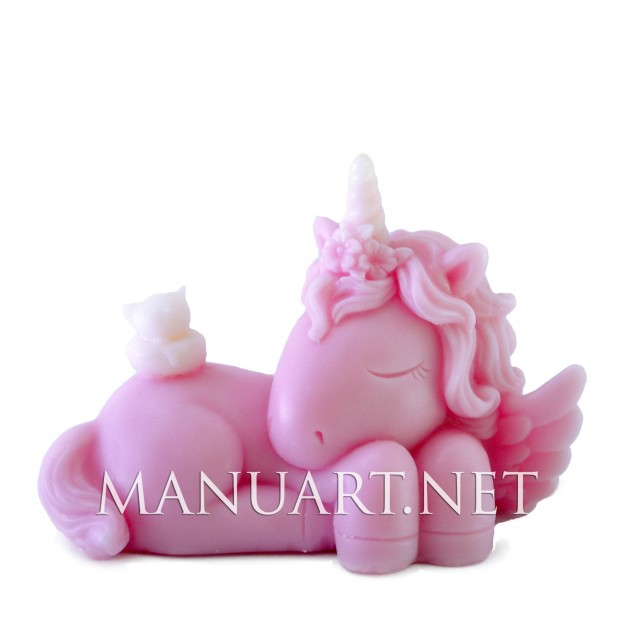 Silicone mold - Sleeping Unicorn Girl 3D - for making soaps, candles and figurines