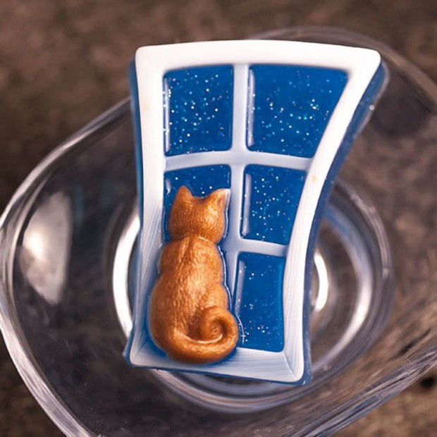 Silicone mold - Cat on the window - for making soaps, candles and figurines