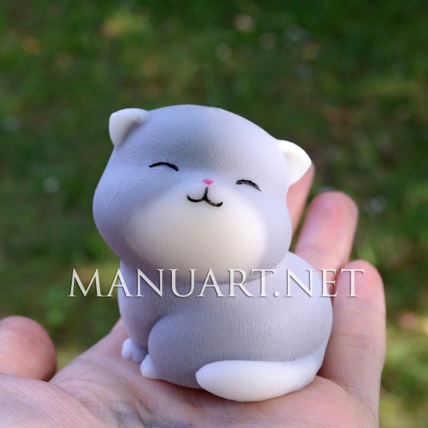 Silicone mold - Sitting cat 3D - for making soaps, candles and figurines