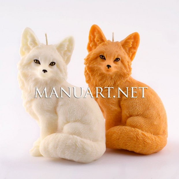 Silicone mold - Big sitting Fox - for making soaps, candles and figurines