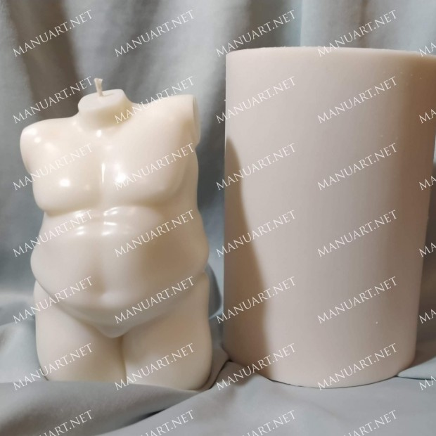 Silicone mold - Plus size Male nude torso 3D - for making soaps, candles and figurines