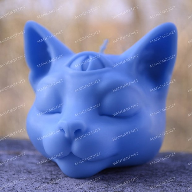 Silicone mold - Buddha cat head 3D - for making soaps, candles and figurines