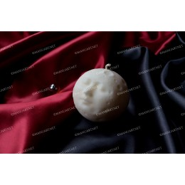 Silicone mold - Full moon sphere with face 3D - for making soaps, candles and figurines