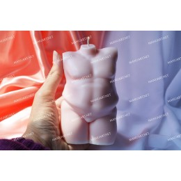 Silicone mold - BIG Plus size Male nude torso 3D - for making soaps, candles and figurines