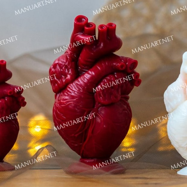 """Silicone mold - Anatomical human heart 13 cm / 5"""" - for making soaps, candles and figurines"""