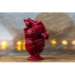"""Silicone mold - Anatomical human heart 10 cm / 4"""" - for making soaps, candles and figurines"""