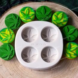 Cannabis leaf four cavities tea light