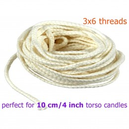 100 % Cotton candle wick perfect for 10 cm / 4 inch Goddess candles 3x6 thread 10 meters / 32 ft