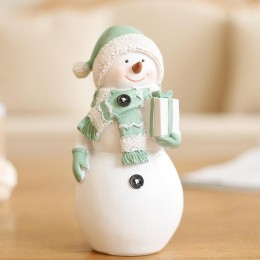 Silicone mold - Big Snowman in a hat and scarf with a gift box - for making soaps, candles and figurines